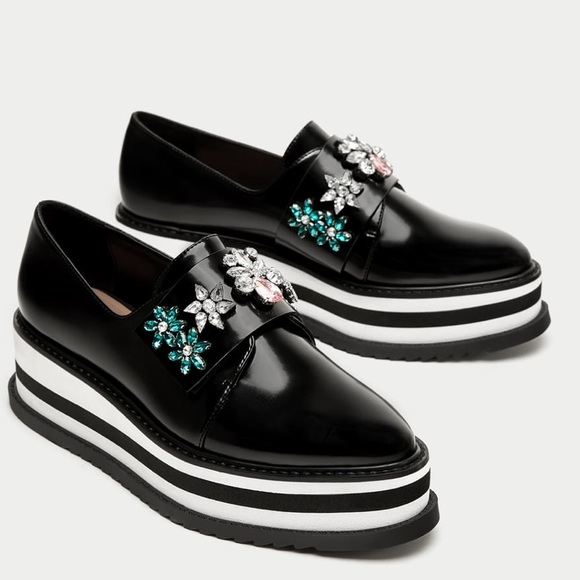 7552386167cd NWT Zara platform derby shoes with beading
